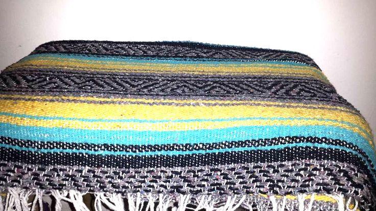 Mexican Serape,Turquoise,Yellow,Pendelton Style,Saltillo,Mexican Blanket,Fringe,Southwestern Blanket,Falsa,Mexican Throw,Mexican Blanket by JunkYardBlonde on Etsy
