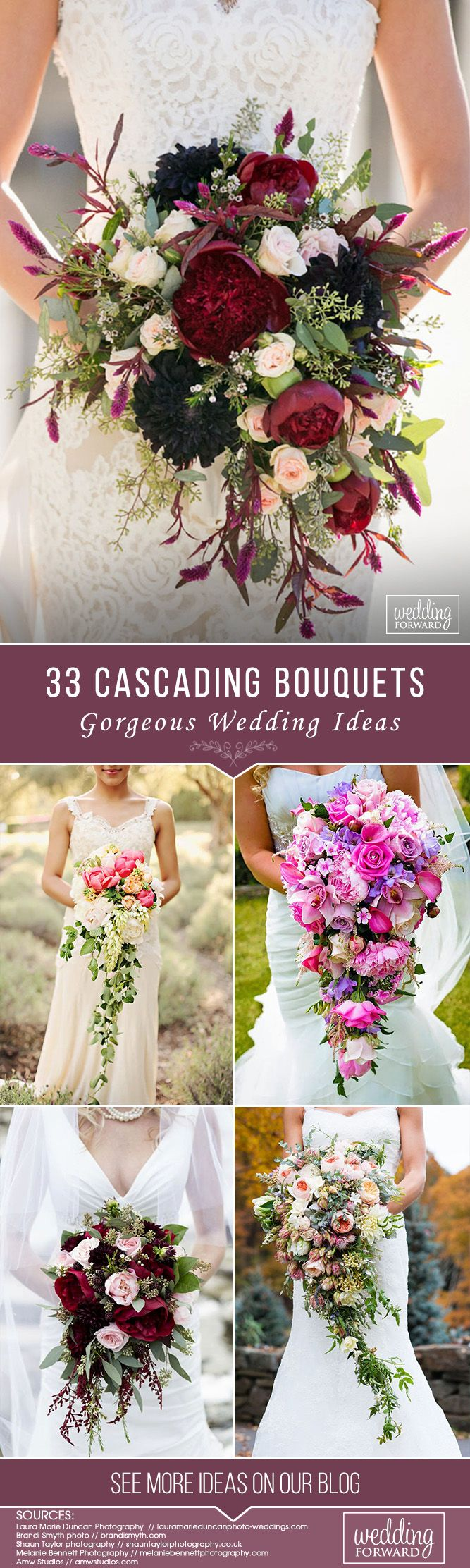 33 Gorgeous Cascading Wedding Bouquets ❤ See more: http://www.weddingforward.com/cascading-wedding-bouquets/ #weddings #bouquets #weddingbouquets #cascadingweddingbouquets