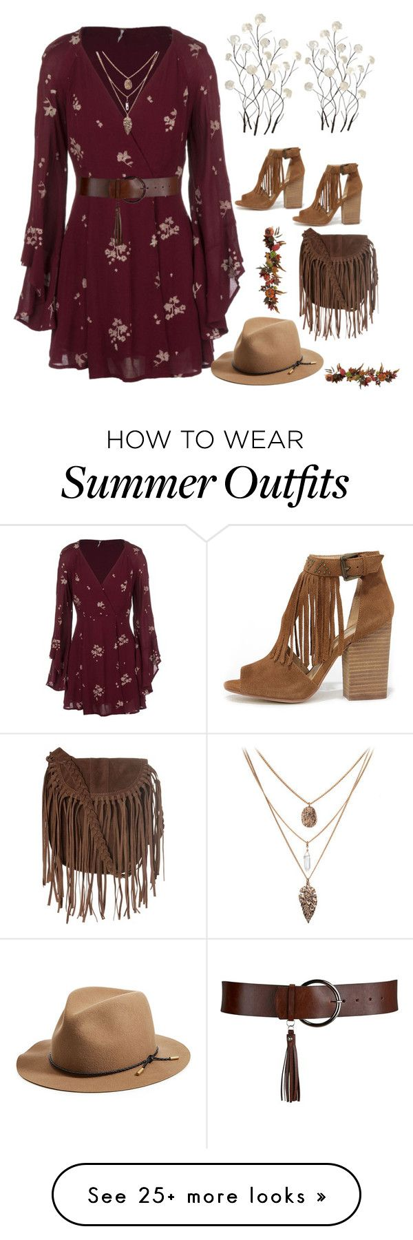 """Day Look 170 Coachella California Sun Summer Playsuit Bordeaux Outfit"" by fashion-by-katrine on Polyvore featuring Chinese Laundry, Free People, Glamorous, rag & bone, Universal Lighting and Decor and Nearly Natural"