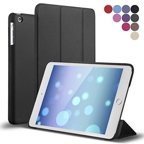 iPad Mini Case ROARTZ Black Slim Fit Folio Stand Case Premium Rubber Coated Cover Non Slip Surface with Auto Wake/Sleep Feature for Apple iPad Mini Mini 2 Mini 3 Retina Display