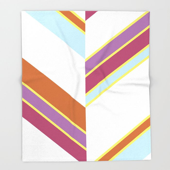 $49.99 Made of 100% polyester and sherpa fleece, these might be the softest blankets on the planet. #blanket #home #decor #stripes #purple #violet #orange #yellow #blue #white #elegant #modern #pattern #geometric #asymmetric #buyart #society6 #gift #giftideas