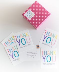 Bright typed thank you (free!) printable postcards and stickers
