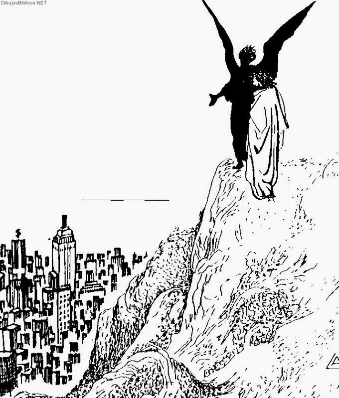 Jesús y Satanás - Dibujos de la biblia | Angeles para colorear ...