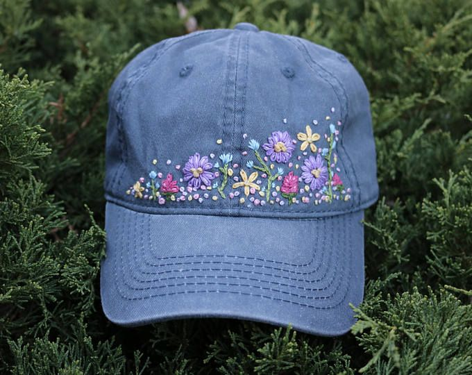 Wildflower Embroidered Hat Handmade Hat Floral Hand Stitched Hand Embroidered Hat Dad Hat Ready To S Hand Embroidered Hat Hat Embroidery Embroidered Hats