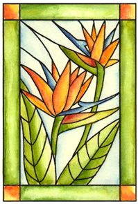 Floral Stained Glass Cling Stamp