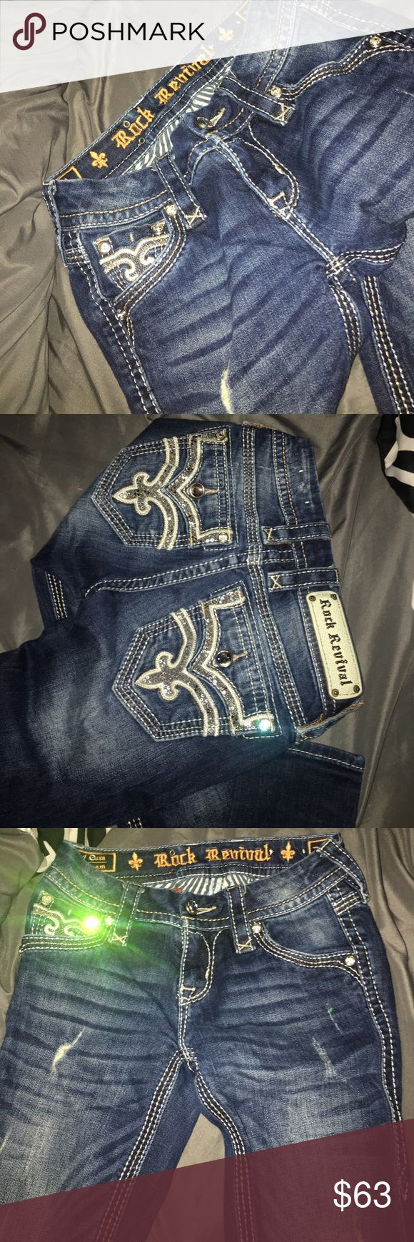 Rock revival jeans A little bit worn out so selling them cheap:) still in good condition though. Skinny jeans not flare. Rock Revival Pants Skinny