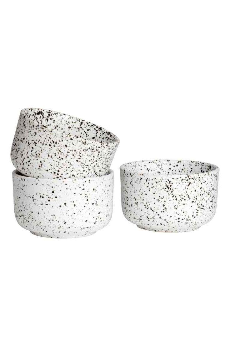 Bol en grès peint à la main - Blanc - Home All   H&M FR