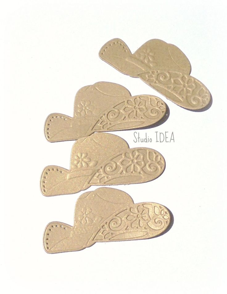 12 Brown gold (light shimmer) Cowboy style large Hat Die cut - Embossed pattern- Set of 12pcs by StudioIdea on Etsy