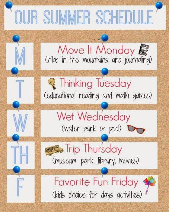 Weekly Summer Schedule Printable   http://www.inspirationformoms.com #summerschedule #summer