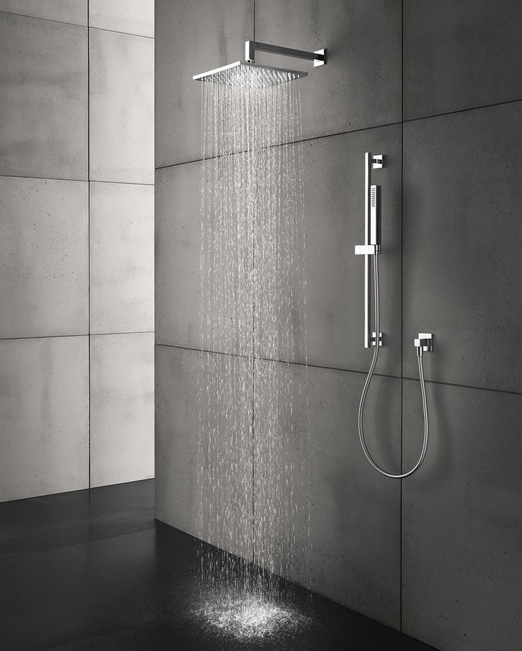 Indoor smooth #concrete wall #tiles SMOOTH CONCRETE by Sai Industry #bathroom #grey #shower