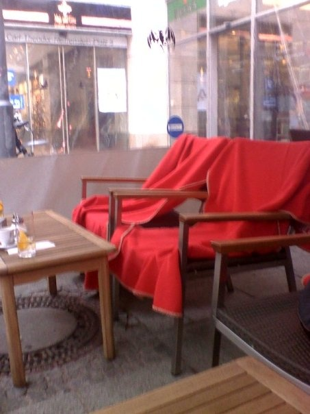 Frankfurt- Now that's what I call service. Want to smoke? Go outside. But at least...have a blanket to keep you warm!! :)