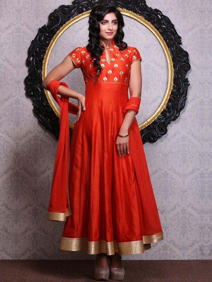 Shop Rust & Orange Kalidar Silk Chanderi Suit Set By Rohit Bal online at Biba.in - RB4731RUSTORG