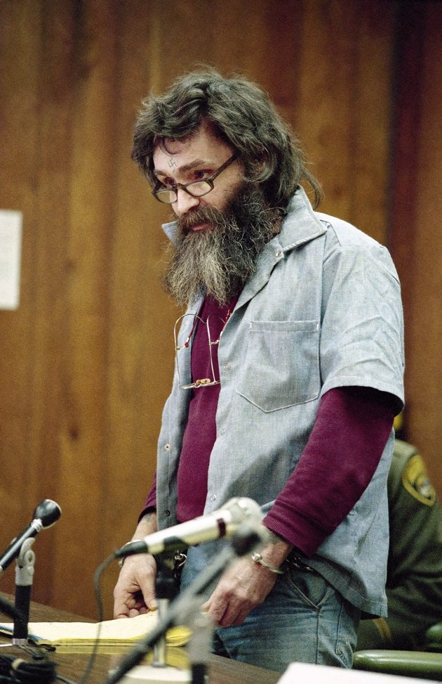 Convicted killer Charles Manson at his parole hearing at San Quentin, California in 1985.