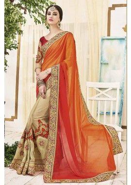 orange, rouge, couleur beige georgette saree, - 195,00 € #Tenuebollywood #Robesindiennes #Sariindou #Shopkund