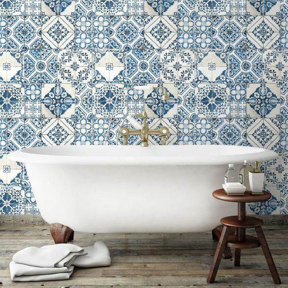 Roommates Mediterranian Tile Peel Stick Wallpaper Blue Mediterranean Tile Mediterranean Decor Mediterranean Home Decor