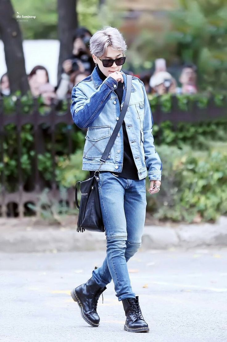 Park Jimin of BTS rocks denim and combat boots.