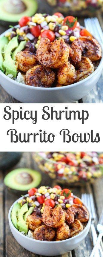 Spicy Shrimp Burrito Bowls recipe with cilantro lime rice and a corn black bean…