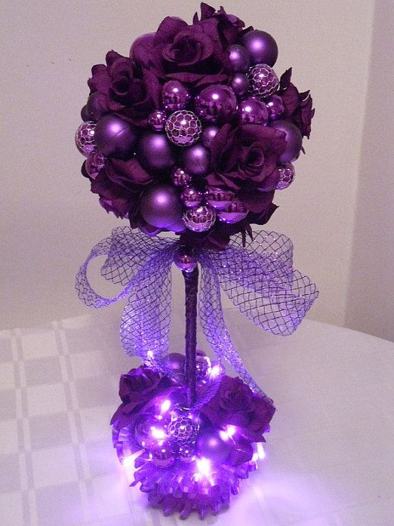 Holiday Centerpiece, Purple Passion Topiary Tree, Tabletop decor, Winter Wedding Centerpiece, Pre-Lit Topiary on Etsy, Sold