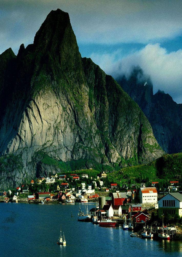 Gudvangen, Norway.  The Lofoten Islands are breathtakingly green, steep and beautiful!
