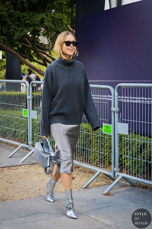 Grey Turtleneck Sweater Silver Slipdress