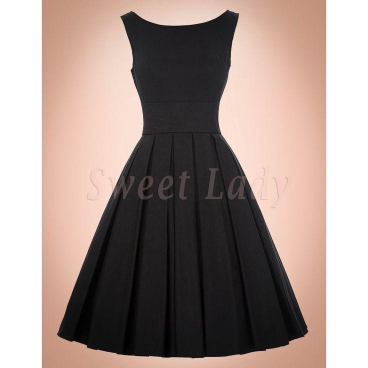 Jednoduché čierne retro šaty