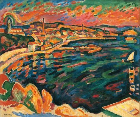Port de l'Estaque, par Georges Braque (1906)  Couleurs vives, ciel coloré (vert, orange,rosé)