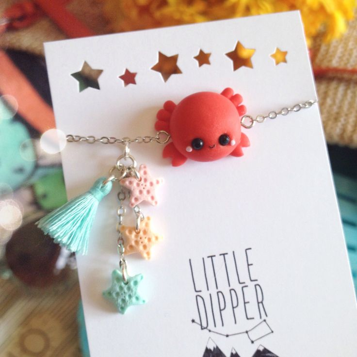 Cute Crab and Seastars bracelet - polymer clay jewelry by LittleDipperShop on Etsy https://www.etsy.com/listing/242842105/cute-crab-and-seastars-bracelet-polymer