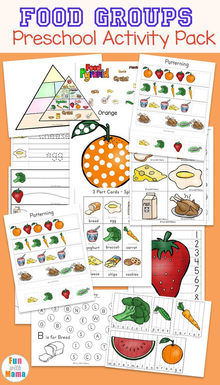 Food Groups Preschool Activity Pack Group meals
