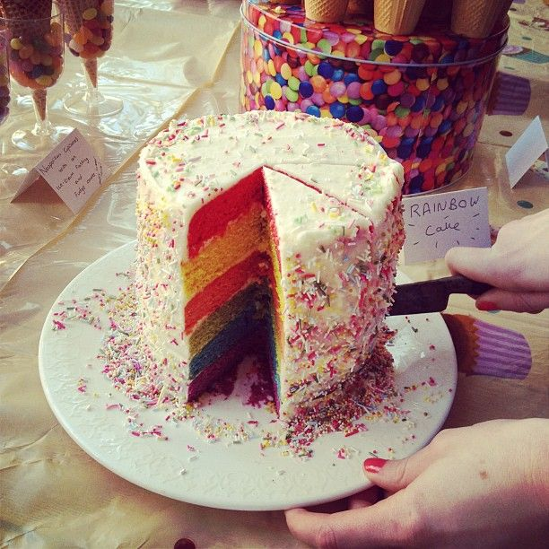 Rainbow sponge cake with cream cheese frosting (use 8inch tins for thinner layer)