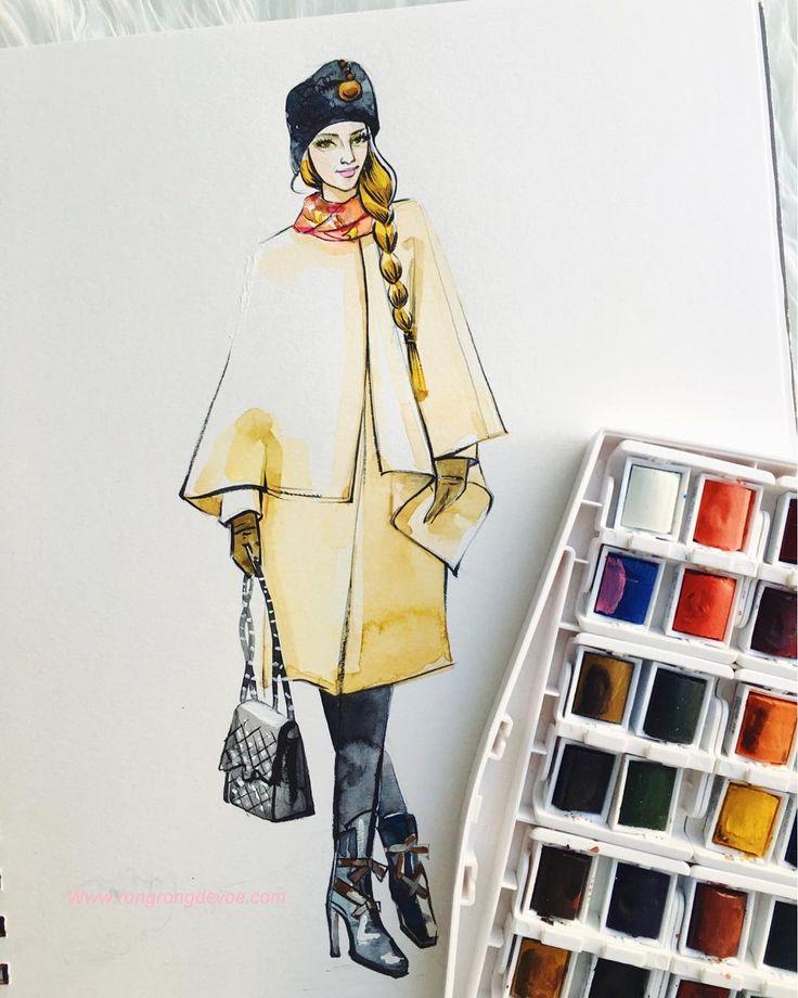 Heavy coat weather❄️🎨 #fashionillustration #fashionillustrator #watercolor #rongrongdevoe #houstonblogger #streetsyle #winterfashion