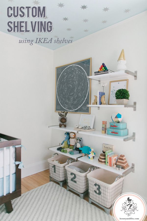 Reed's Nursery Shelves : Custom Wall Shelving Using IKEA Shelves. Love the use…
