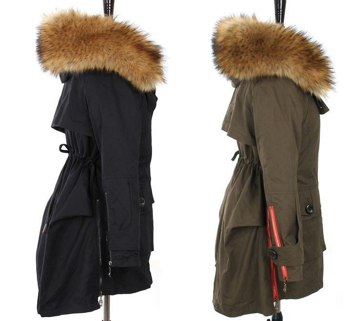JAZZEVAR Women's Army Green Parkas with Faux Fur Collar  #coat #Fur  #sale #newwaynewu #SANU #hotseller  #sexy #Shaping #winterstyle #trendy #Parka