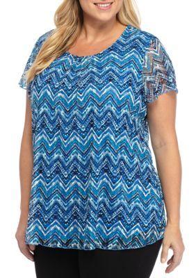 Kim Rogers Women's Plus Size Chevron Print Top - Blue Ridge Multi - 3X