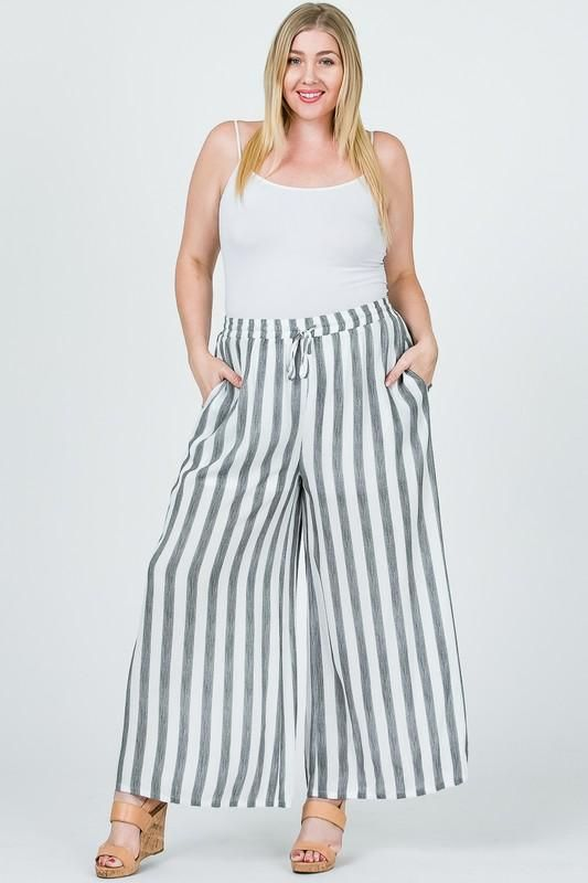 RAYON STRIPED PLUS PANTS