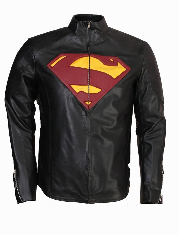 superman black PU leather jacket