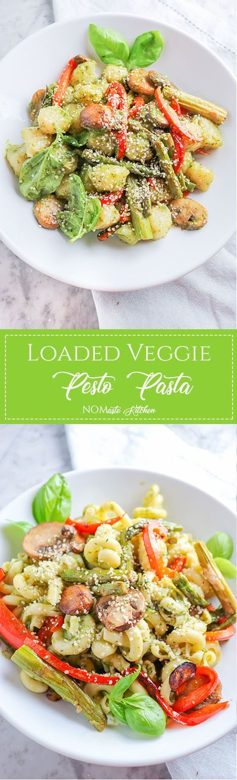 Red Pepper, Mushroom, and Asparagus Pesto Pasta
