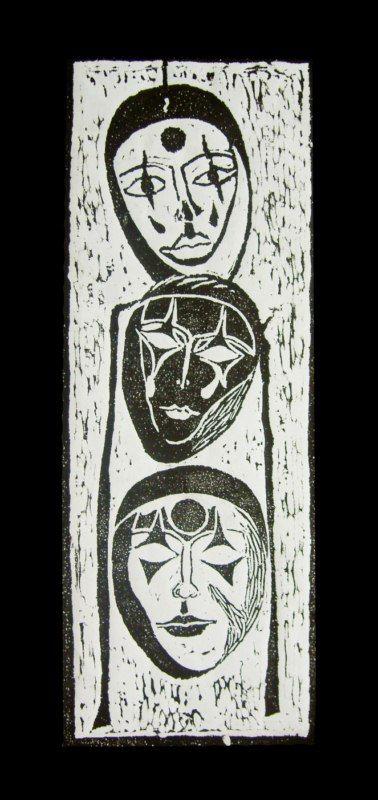 Maski Weneckie, linocut, 2001  #linocut #linoryt #print #printing #druk #drukowanie #uljado