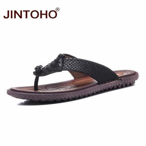 a2a9540498 JINTOHO Big Size Summer Men Slippers Flip Flops Beach Slippers Fashion  Genuine Leather Male Slippers Flip