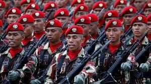 KOPASUS Komando Pasukan Khusus atau sering disebut Kopasus adalah pasukan khusus dari TNI angkatan darat.Pasukan baret mehah ini mempunyai kemampua khusus bergerak cepat di setiap medan,menembak tepat pada sasaran,pengintaian dan anti teror.Pasukan yang bermarkas di Cijantung Jakarta Timur ini harus menempuh pendidikan selama 7 bulan untuk dapat lolos menjadi anggotanya.