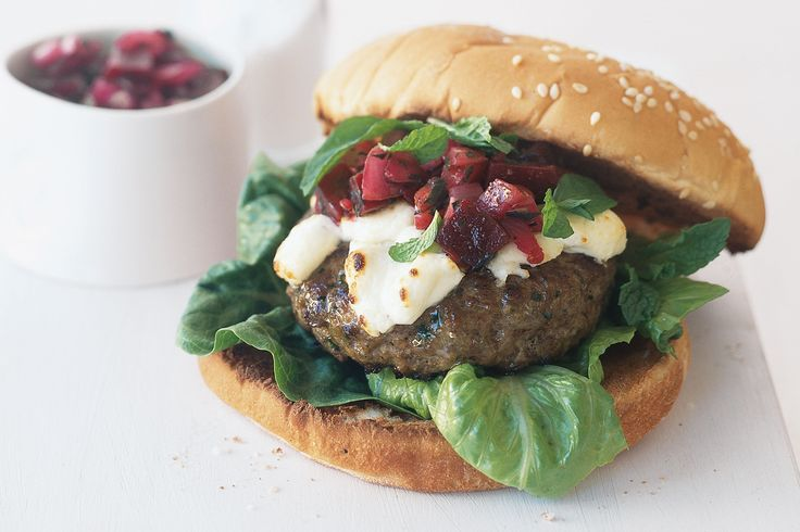 LAMB BURGERS WITH BEETROOT SALSA. delicious. magazine