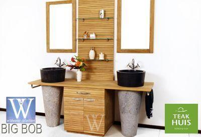 teakhouten badkamermeubel Big Bob Prachtige stijlvolle badkamerset, inclusief vazen en waskommen, spiegels en handdoekrekken