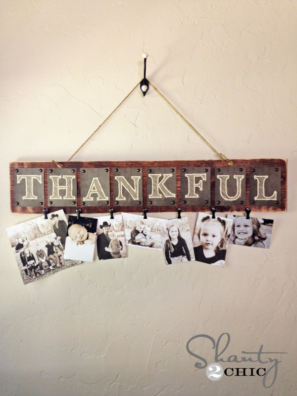 Thankful Photo Wall Hanging--love this or something like this--maybe a thankful wall!: