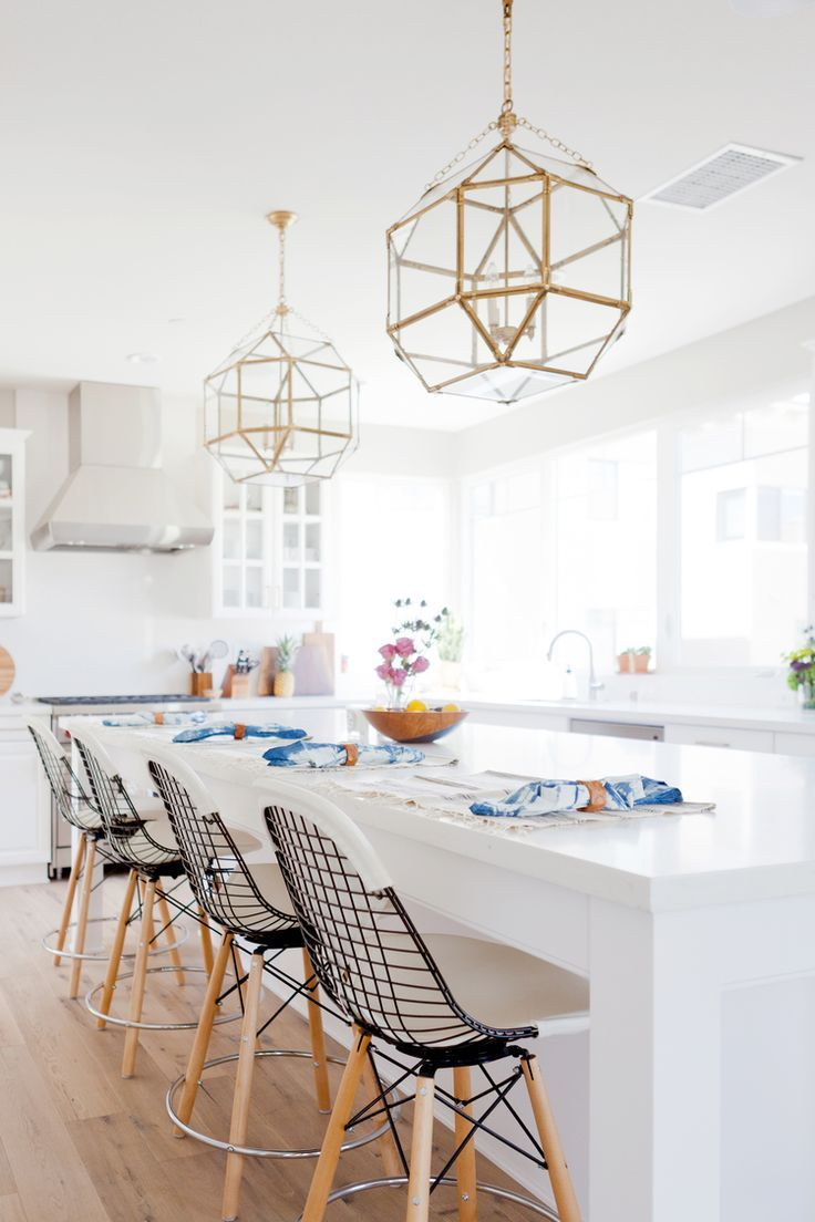 new traditional kitchen, brass lanterns, circa lighting, morris pendant, bikini stools, brushed brass
