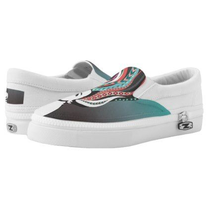 Beautiful girl with long colored dread  hair Slip-On sneakers - red gifts color style cyo diy personalize unique