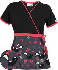 UA Skunk Soul Mates Pewter Mock Wrap Scrub Top