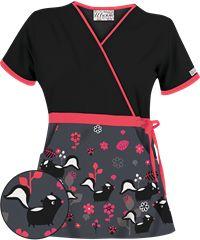 UA Skunk Soul Mates Pewter Print Scrub Top, Style #  UA28SMP #fashion #scrubs #pewter #nursing #UniformAdvantage