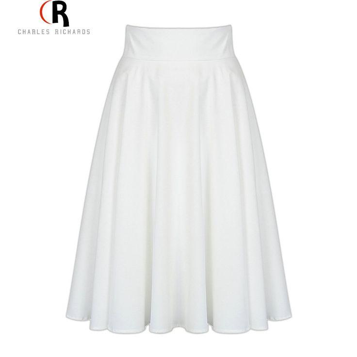 Midi Skirt 2017 Summer Women Clothing High Waist Pleated A Line Skater Vintage Casual Knee Length Saia Petticoat - free shipping worldwide
