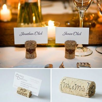 This is a really cute and simple idea. Simply cut a slit in the cork with a razor blade and slide your place card in!