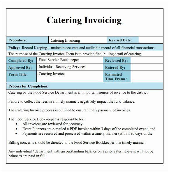 Catering Quote Template Free Elegant 16 Catering Invoice Samples Invoice Template Invoice Sample Invoice Template Word