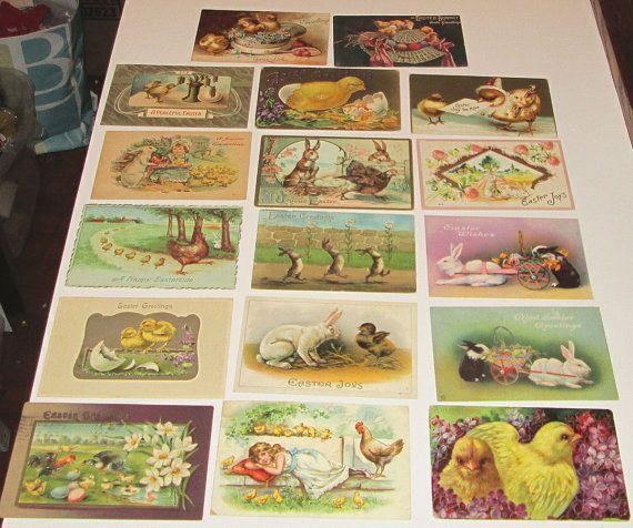 17 Old Vintage Victorian Easter cute children bunny rabbits chicks Raphael Tuck German England Postcards Post card lot card making crafts